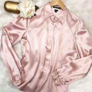 Lauren Ralph Lauren Pink Silk Blouse Sz 8 ::